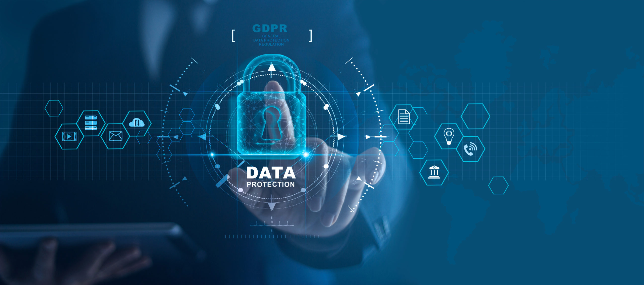 Business man protecting data personal information on tablet and virtual interface. Data protection privacy concept. GDPR. EU. Cyber security network. Padlock icon and internet technology networking connection on digital background.